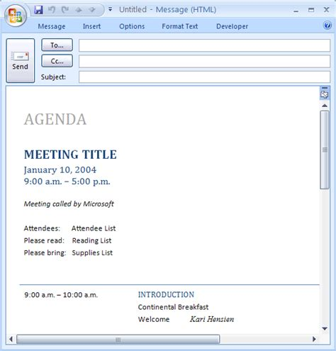 Outlook Meeting Minutes Template by Ms Office E Mail Message Meeting Agenda