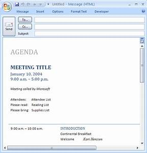 download ms office e mail message meeting agenda With outlook meeting minutes template