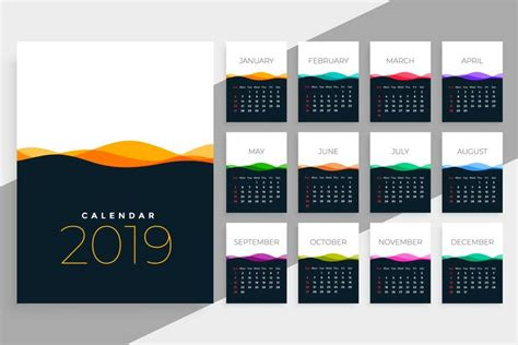 calendar template  colorful waves