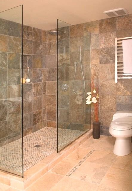 Tiling A Bathtub Enclosure by Open Shower Without Door Asian Bathroom Seattle By