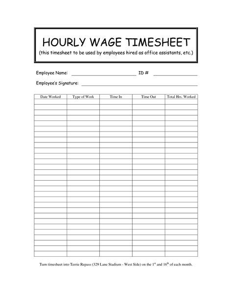 Hourly Timesheet Templates Printable Gallery