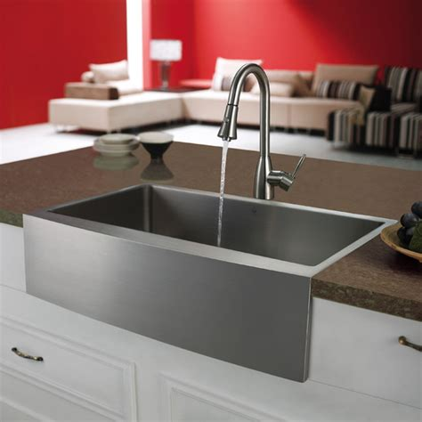 Modern Kitchen Sink by Vigo Premium Series Farmhouse Stainless Steel Kitchen Sink