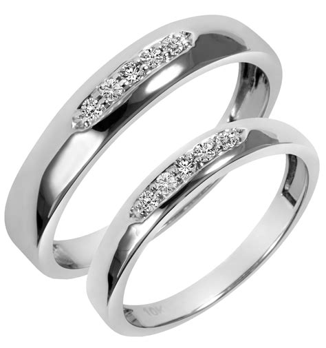 his and hers wedding bands white gold wedding ring sets his and hers diamondstud