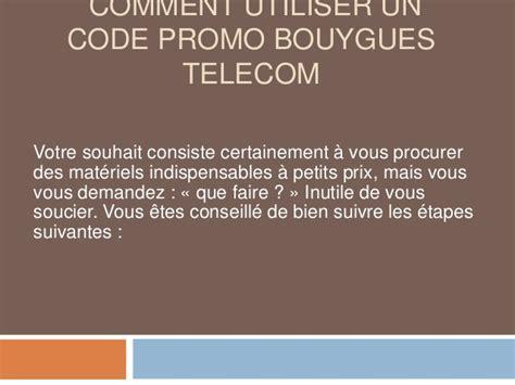 comment utiliser un code promo bouygues telecom