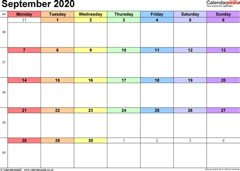 calendar september  uk bank holidays excelpdfword