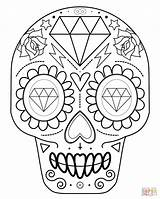 Skull Coloring Sugar Simple Skulls Printable Getcolorings sketch template