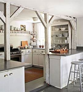 exposed wood beams cottage kitchen esny With kitchen cabinet trends 2018 combined with whitewashed wood wall art