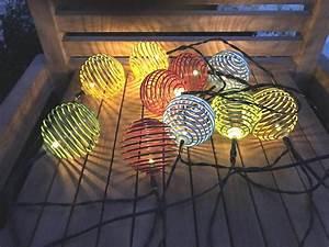 Lampion Lichterkette Solar : led solar lichterkette 10 led bunte spiralen kugeln 10 ~ Watch28wear.com Haus und Dekorationen