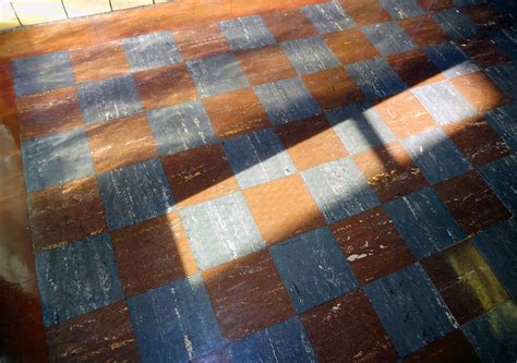 vintage  asbestos floor tile checker pattern