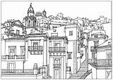Village Coloring Architecture Pages Adult Italia Sicilia Adults Living Drawing Spanish Printable Antistress Travels sketch template