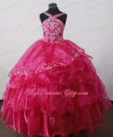 Brand New Hot Pink Ruffled Beaded Little Girls Pageant Dresses