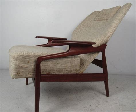 Danish Modern Reclining Lounge Chair And Ottoman For Sale