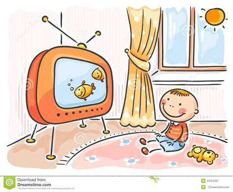illustration chambre bébé enfant regardant la tv dans sa chambre illustration de