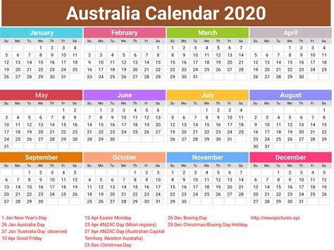 Annual Australia Calendar 2020