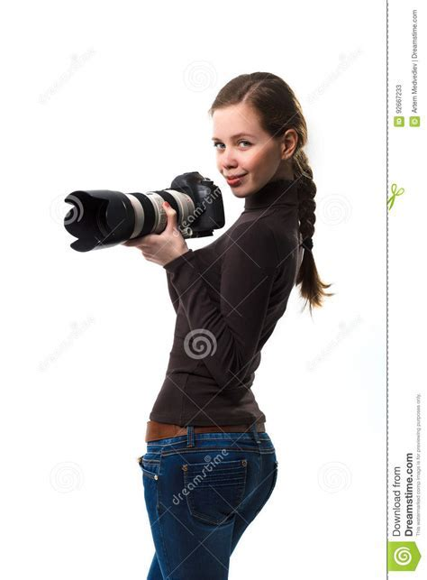 Young Girl With Analogue Camera Royalty Free Stock Image