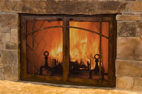 Traditional Library Fireplace Ideas With Custom Glass Fireplace Doors And Brushed Steel