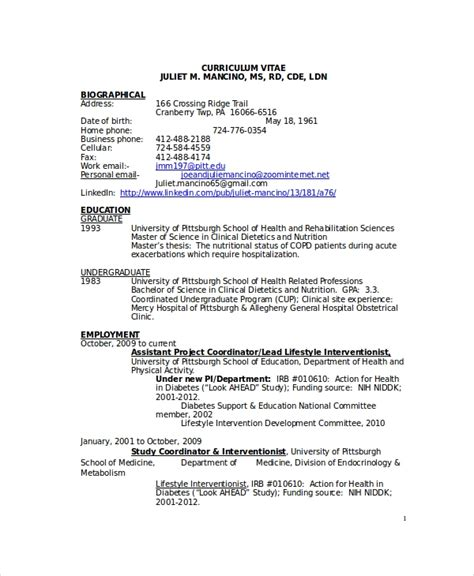Dietitian Resume by Dietitian Resume Template 6 Free Word Pdf Documents