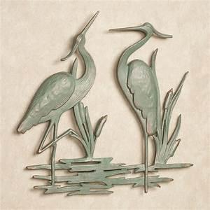 Heron indoor outdoor metal wall art