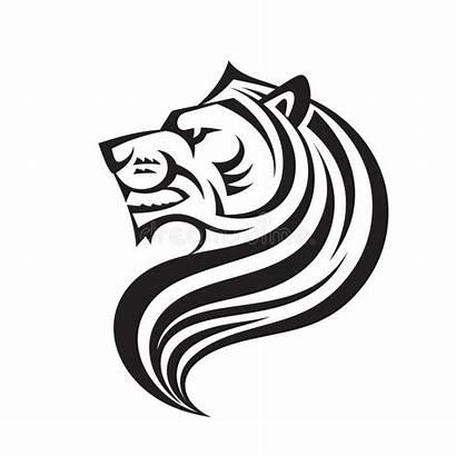 Lion Face Profile Vector Template Cat Head