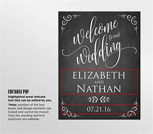 printable wedding welcome sign template rustic chalkboard With chalkboard wedding sign template