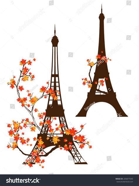 eiffel tower vector outline  branches stock vector