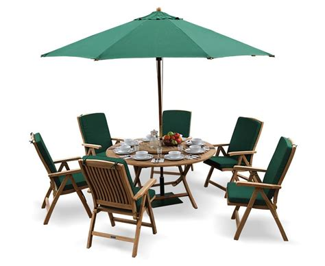 suffolk folding table and 6 reclining chairs set