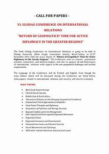 Call for papes, 6th Uludag Conference on International ...