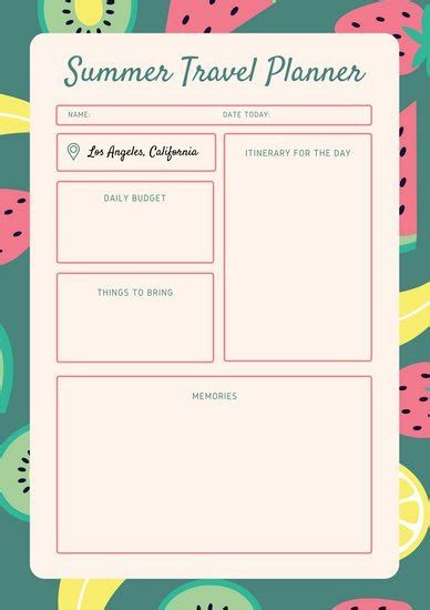 blue orange vintage itinerary planner templates  canva