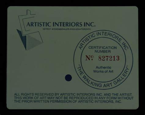 artistic interiors inc certification number concept sports memorabilia auction pristine auction