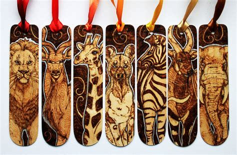 pyrography african animal bookmarks  bumblebeefairy