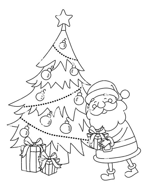 christmas picture outline black santa claus leaving a present a tree clipart friendlystock