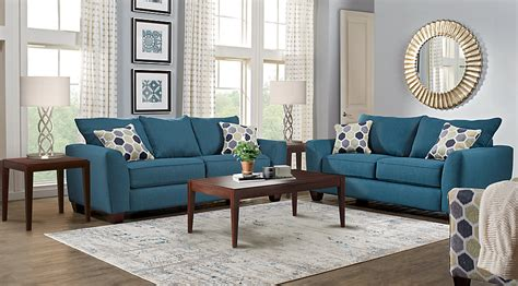 bonita springs blue 7 pc living room living room sets blue