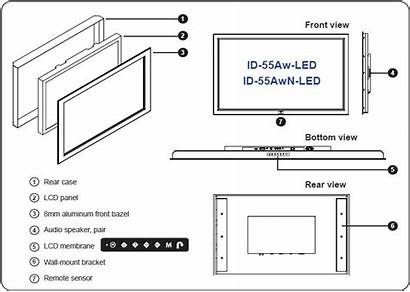 Led Lcd Dimensions Side Screen Panel 55