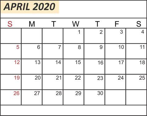 blank april calendar printable word excel