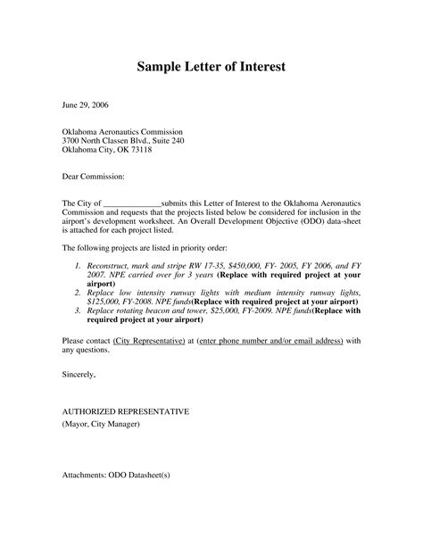 formal letter  interest templates