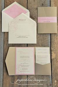 Blush pink peony wedding invitation suite pink and gold for Wedding invitations jacket pocket