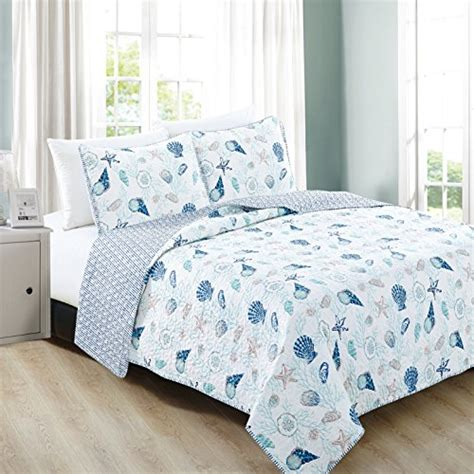 Coastal Coverlet by Home Fashion Designs 3 Coastal Theme Quilt Set