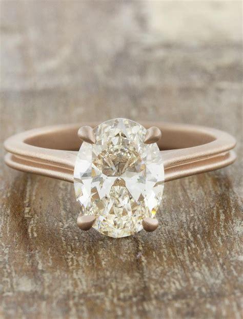 queenie modern rose gold oval diamond ring ken dana