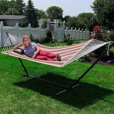 2 person cing hammock sunnydaze 2 person quilted hammock w spreader bar