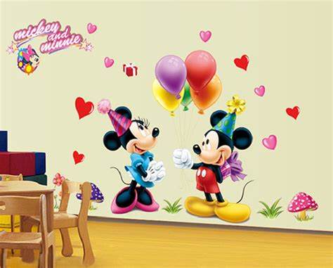 Mickey Minnie Mouse Wall Sticker Baby Kids Room Wallpaper