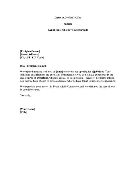 Meeting Decline Letter - Well written example letter for