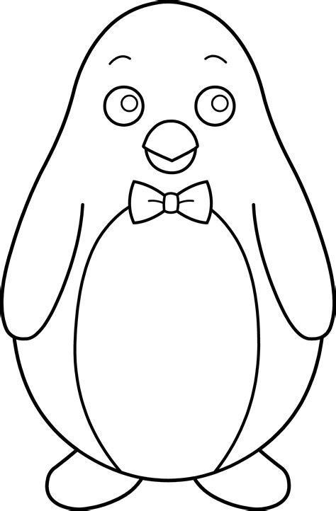 penguin clipart black and white colorable penguin with bow tie free clip