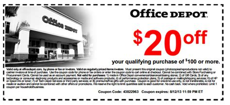 Office Depot Printable Store Coupon & Online Coupon