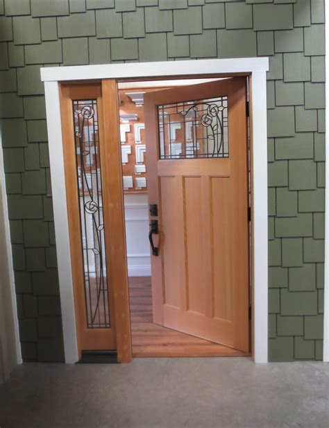 black stained wooden single half glass modern front doors