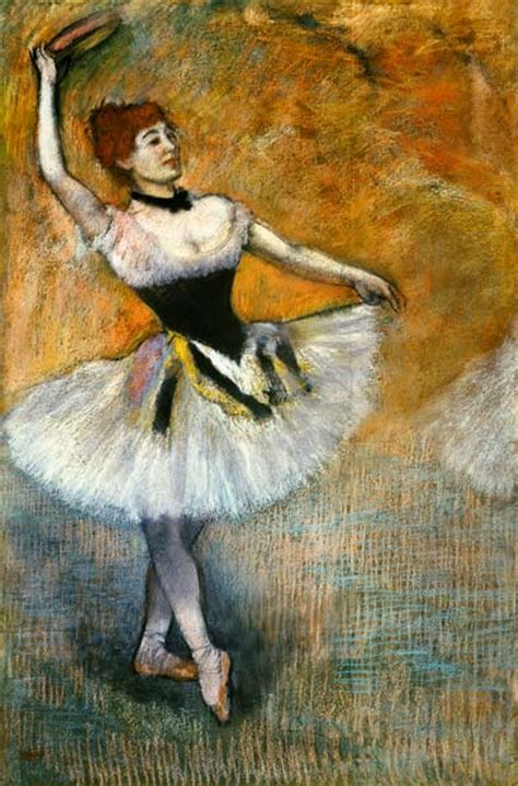 dancer  tambourin edgar degas en reproduction