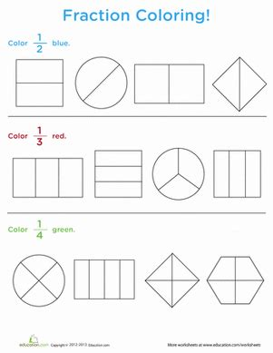 fraction coloring worksheet education com