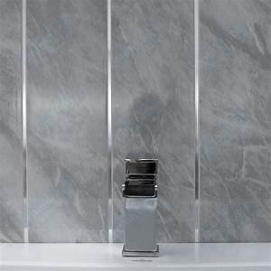 Travertine or grey marble with twin chrome strip bathroom for Pvc sheets for bathroom walls