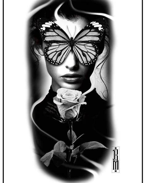 #butterfly #rose #face #women #design #tattoo #