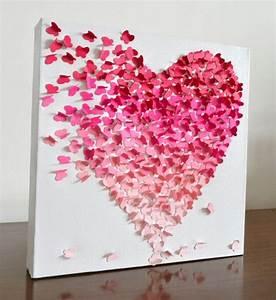 D butterfly heart wall art small pink ombre nursery