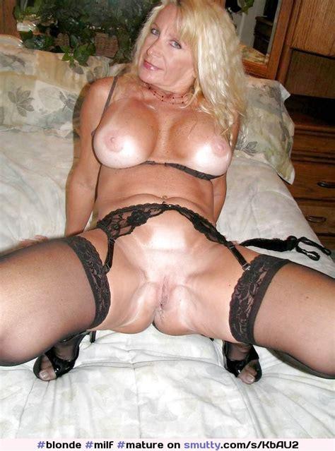 Blonde Milf Mature Garterbeltandstockings Pantiless